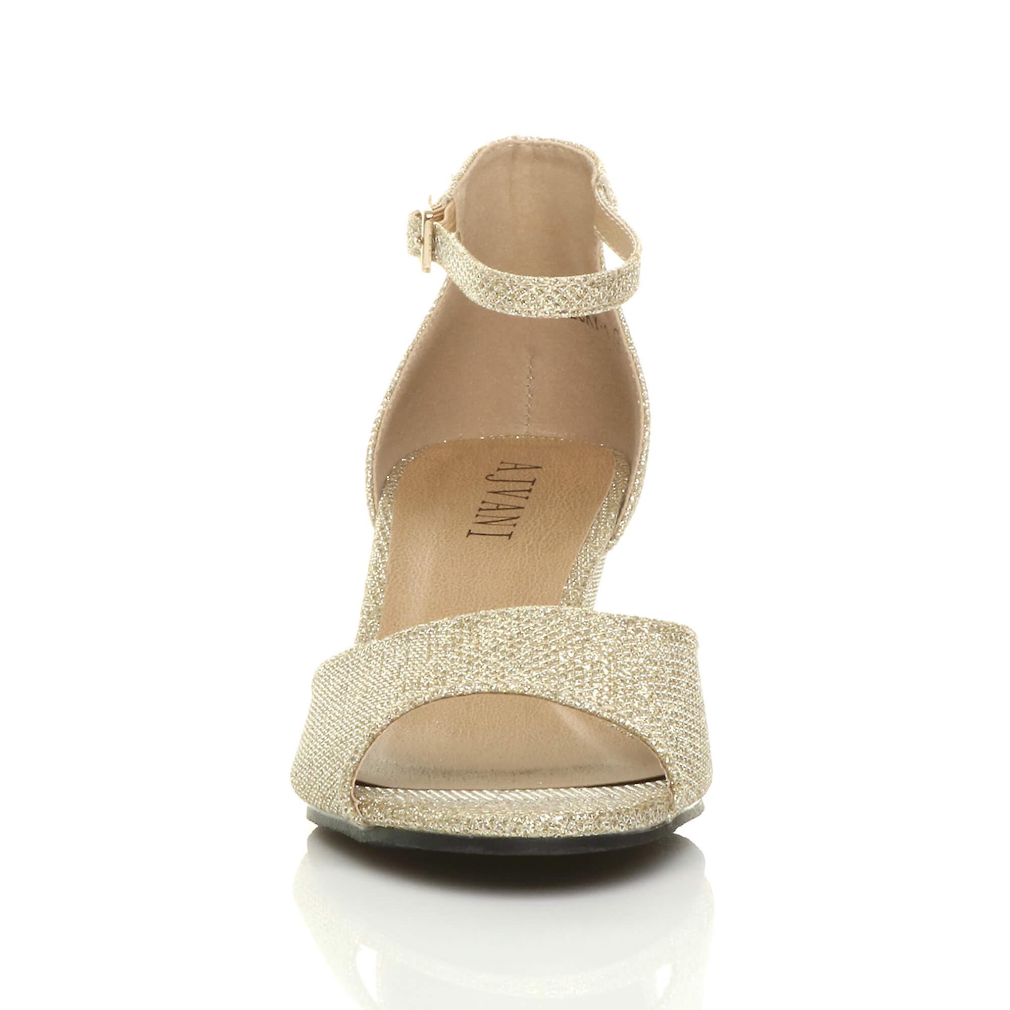 Womens Ajvani bas mi sandales compensées talon peep toe cheville sangle soir casual smart