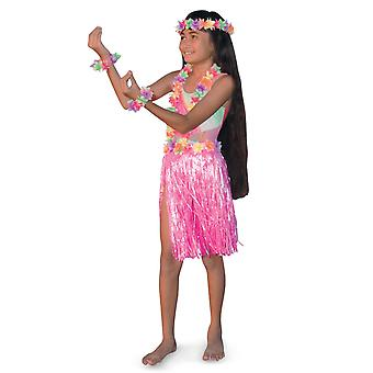 Aloha Hawaiian Traveller Pink Girls Costume Skirt Lei Headband Bracelet Kit