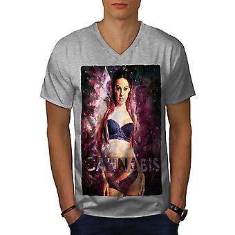 Girl Space Canabis Men GreyV-Neck T-shirt | Wellcoda