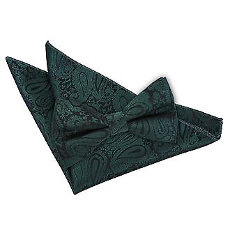 Emerald Green Paisley Bow Tie & Pocket Square Set