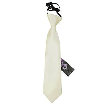 Ivory Plain Satin Elasticated Tie for Boys
