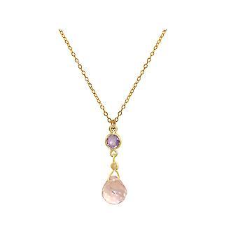 GEMSHINE colar com ametista e rosa de quartzo gota banhado em 45 cm cadeia.