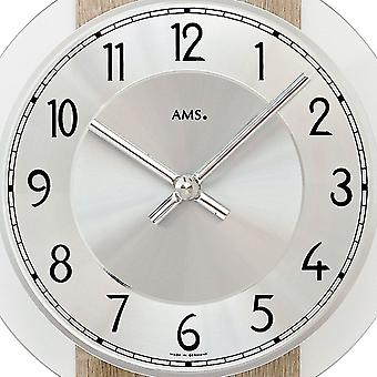 AMS 7415 wall clock pendulum wooden case mineral glass crystal