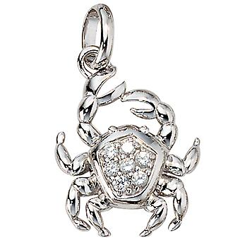 Zodiac pendant cancer with cubic zirconia 925 Silver rhodium-plated