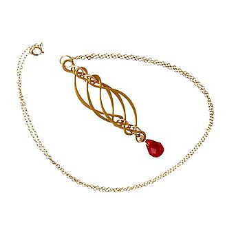 Jade necklace red ladies necklace of Red jade gemstone necklace gold plated