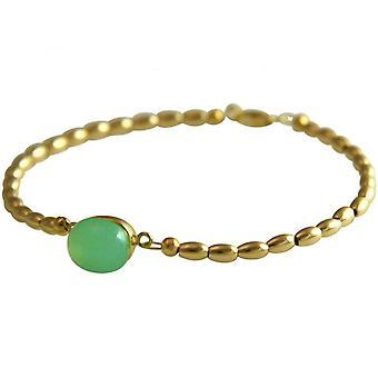 Sea green - 18 cm - chalcedony - gold-plated ladies - bracelet-