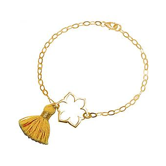 Ouro amarelo - mulheres YOGA - pulseira - prata 925 - dourado - flor de lótus - mandala - pendão-