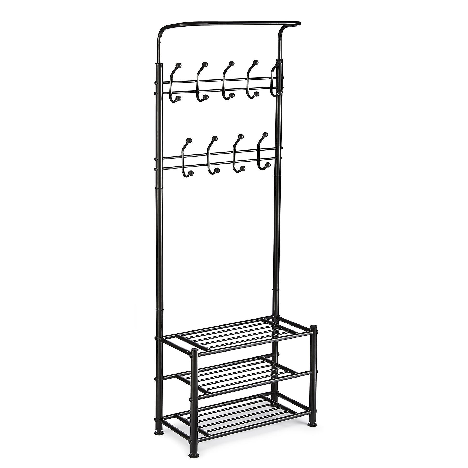 Multi Purpose Stand 18 Hooks For Clothes Shoes Hats Bags - Black