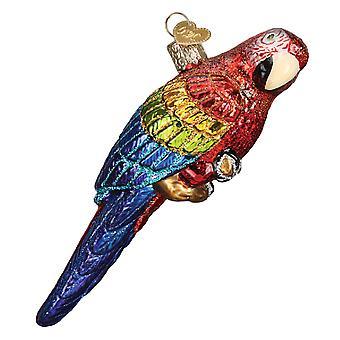 Vanhan maailman joulu punainen ja sininen trooppinen papukaija loma Ornamentti