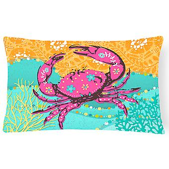 Coastal Pink Crab Canvas Fabric Decorative Pillow