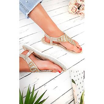 IKRUSH Womens Zania Diamante Embellished T-Bar Sandals
