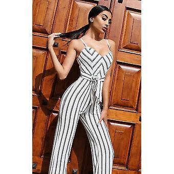 IKRUSH Womens Hallie Stripe Tie Taille Wide Leg Overall