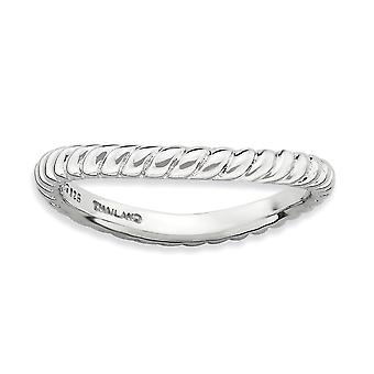 2.25mm 925 Sterling Silver Textured Patterned Rhodium plated Stackable Expressions Polished Rhodium plate Wave Ring Jewe