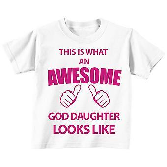 これは何の素晴らしい神娘に見えるような白 t シャツ ピンク テキストです。
