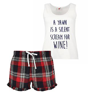 Uno sbadiglio è un urlo silenzioso per pigiama corto di vino Ladies Tartan Frill Set rosso blu o verde blu