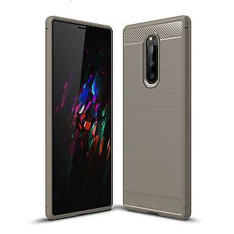 Sony Xperia XZ4 TPU Case Carbon Fiber Optik Brushed Schutz Hülle Grau