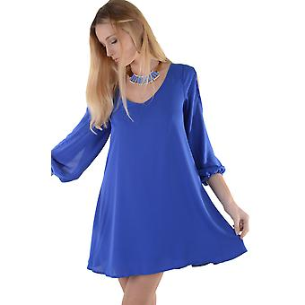Lovemystyle Indigo Shift Dress With Cut Out Long Sleeve Detail - SAMPLE