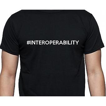 #Interoperability Hashag yhteentoimivuuden musta käsi painettu T-paita