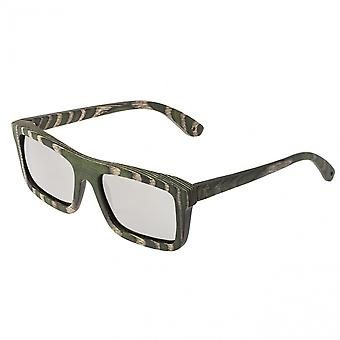 Spectrum Garcia Wood Polarized Sunglasses - Green Zebra/Silver