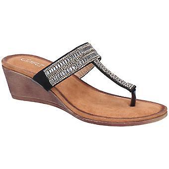 Divaz Womens Gem Wedged Toe Post Embellished Flip Flops