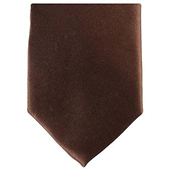 Knightsbridge Neckwear Slim Polyester Tie - Dark Brown