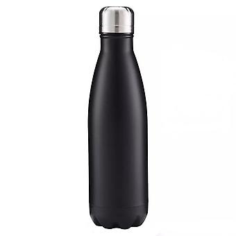 Insulated water bottle in stainless steel-black