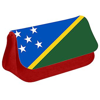 Solomon Islands Flag Printed Design Pencil Case for Stationary/Cosmetic - 0160 (Red) by i-Tronixs