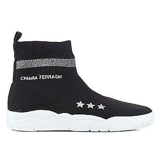 Chiara Ferragni Cf1948 Femmes-apos;s Black Fabric Hi Top Sneakers