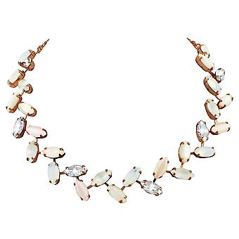 Eternal Collection Decadence White Mother Of Pearl And Crystal Rose Gold Tone Necklace