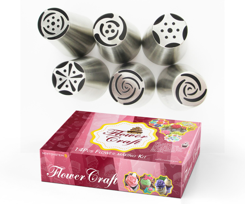 FlowerCraft - 17pc Set met 12 verschillende Russische bloem en blad waardoor ijsvorming mondstuk Tips met herbruikbare katoen 2 maten ijsvorming zakken voor taarten en Cupcakes