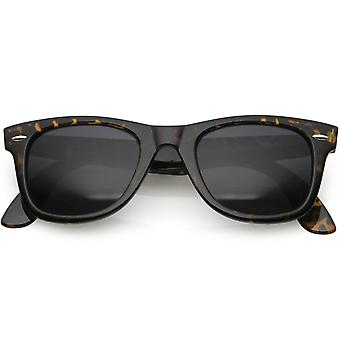 Classic Small Frame Wide Arms Dark Lens Horn Rimmed Sunglasses 50mm