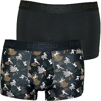 HOM Boxerlines 2-Pack Dogs Print Boxer Trunks, Khaki