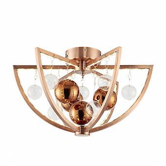 1 Light Flush Ceiling Light Copper Balls
