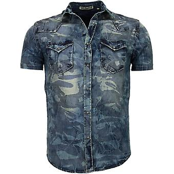 Denim - Short Sleeves - Army Motif - Blue