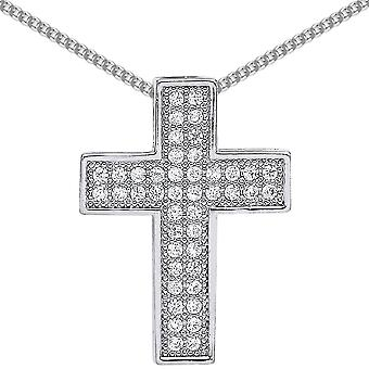 Jewelco London Rhodium Plated Sterling Silver Round Brilliant Cubic Zirconia Pave Cross Pendant Necklace 18 inch