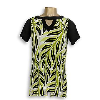 Bob Mackie Women's Top (XXS) Palm Printed High-Low Hem Knit Green A276145
