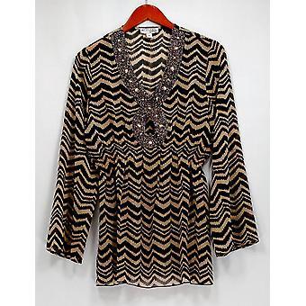 Atitudes por Renee Top geométrica Print túnica W/talão detalhe preto/bege A265060