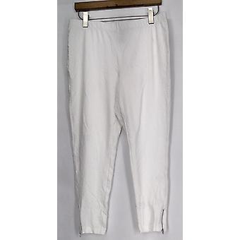 Slimming Options Leggings XS Elastic Waistband w/ Side Zipper White A417363
