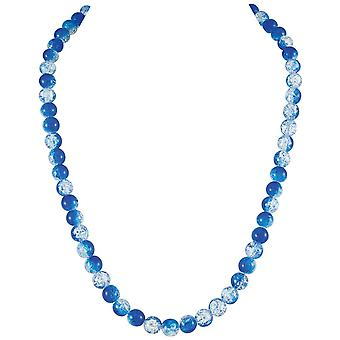 Eternal Collection Carnival Blue Czech Glass Crackle Bead Silver Tone Long Necklace