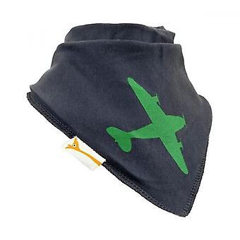 Grey & green aeroplane bandana bib