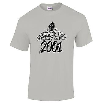 Men's 18th Birthday T-Shirt Menace Since 2001 Prezenty dla niego