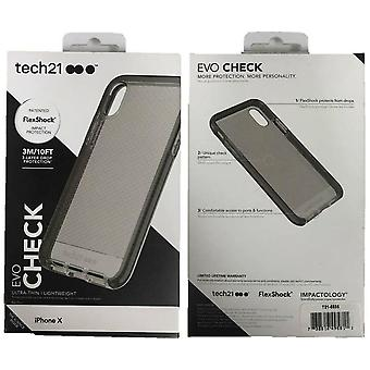 Genuine Tech21 Evo Check Impact Case Cover for Apple iPhone X / iPhone XS - Smokey Black
