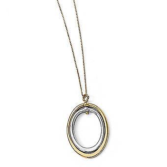10 k zweifarbig Gold poliert Oval Halskette - 18 Zoll