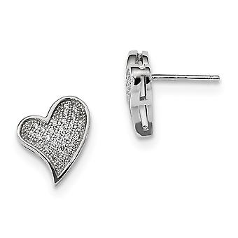 925 Sterling Silver Pave Rhodium plated and CZ Cubic Zirconia Simulated Diamond Brilliant Embers Love Heart Post Earring