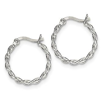 925 Sterling Silver Hinged Polished Hollow tube Twisted Hoop Brincos Joias Para Mulheres
