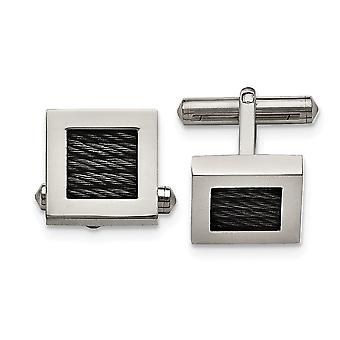 Titanium Polished Black Ip plated Wire Cuff Links Jewelry Gifts for Men