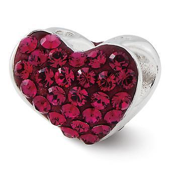 925 Sterling Silver Reflections Red Crystal Love Heart Bead Charm Pendant Necklace Bijoux Bijoux pour les femmes