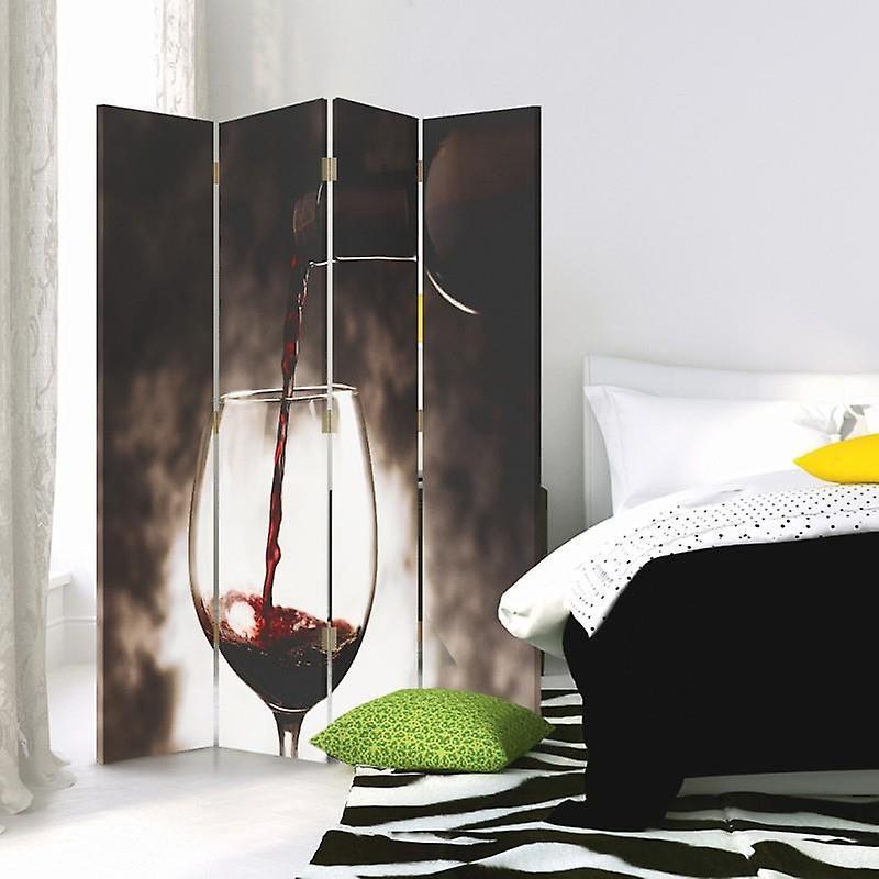 Diviseur de chambre, 4 panneaux, double-face, 360 rotatable, toile, verre de vin