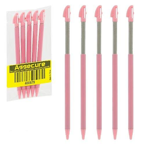 Extendable slot in stylus pens for nintendo 3ds xl - 5 pack - pink