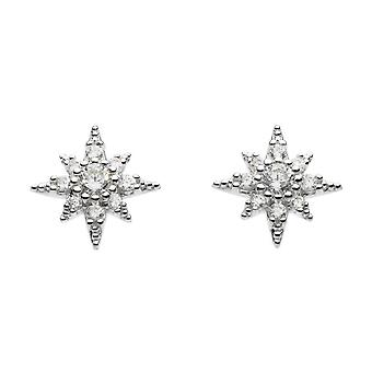 Dew Silver Cubic Zirconia 3D Pointed Star Stud Earrings 3538CZ020